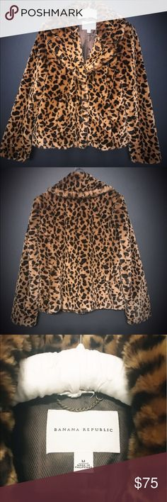 Banana Republic leopard print coat NEW sz M Brand new never worn Banana Republic faux fur leopard print coat. Size medium. Super soft and fluffy. Non smoking home. I live in Miami, and it's never cold enough to wear this. Tags are not attached but it has never been used! Banana Republic Jackets & Coats