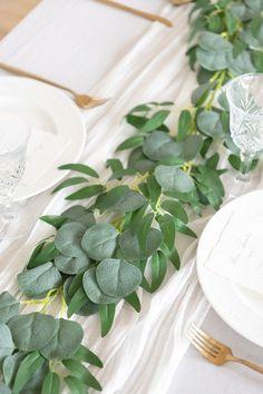 Bridal Shower Table Decorations, Bridal Shower Tables, Wedding Ceremony Decorations, Wedding Ideas, Plant Wedding Favors, Rustic Wedding Centerpieces, Greenery Garland, Leaf Garland, Artificial Garland