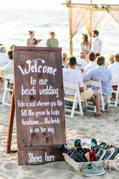 Wedding, Hochzeit, Idee, Schuhe, Welcome, Schild, Meer, Strandhochzeit