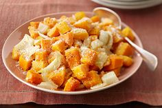 Butternut squash is a fall favourite in the KRAFT KITCHENS.  We've taken oven-roasted squash and onions and topped them with Parmesan cheese for a simple side dish that the whole family will love.  Our Butternut Squash Parmesan recipe is bound to be a hit.