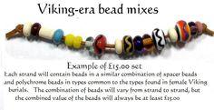 Viking bead sets - handmade reproduction lampwork beads. £15.00, via Etsy.