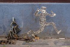 Y'en a un qui se fait la belle... / Street art.