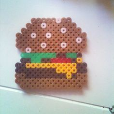 Cheeseburger perler beads by queenheadywookie