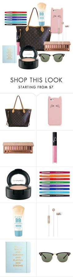 """""""What's in my purse :]"""" by maemoo7 ❤ liked on Polyvore featuring moda, Louis Vuitton, Kate Spade, Urban Decay, NARS Cosmetics, MAC Cosmetics, Paper Mate, Maybelline, Beats by Dr. Dre ve Ray-Ban"""