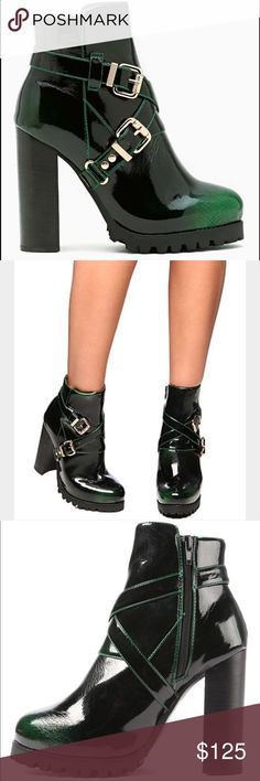 Jeffrey Campbell green patent leather booties These boots are amazing!!!! I love the green patent leather because it's dark and matches everything but is way more unique and classy than black booties. Worn twice and in great condition. These boots are just so beautiful😍 Jeffrey Campbell Shoes Ankle Boots & Booties
