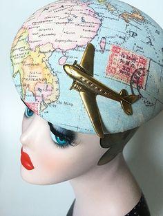 Cosma Cosmo, Fascinator, Captain Hat, Hats, Vintage, World Wide Map, Viajes, Headdress, Hat