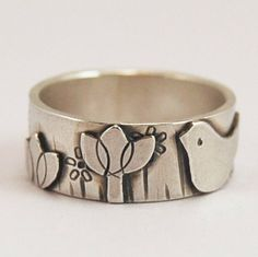 Tiny+bird+in+the+flower+garden++ring+by+ShereDesign+on+Etsy,+£69.00