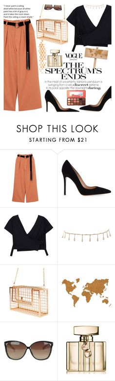 """""""Untitled #2387"""" by anarita11 ❤ liked on Polyvore featuring Gianvito Rossi, Luv Aj, Wall Pops!, Linda Farrow, Gucci and Too Faced Cosmetics"""