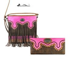 Montana West Coffee/Pink Wallet & Crossbody Messenger Bag Set