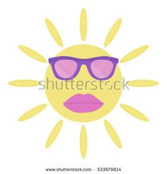 The sun with sunglasses and lips. Vector illustration.