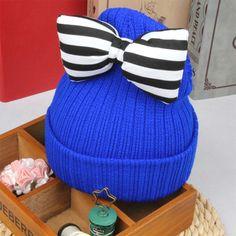 27d0218187b New Arrival Baby Hat Cute Striped Bow Kids Woolen Hat Children Winter Warm  Crochet Knitted Cap Girls Photography Headwear Caps