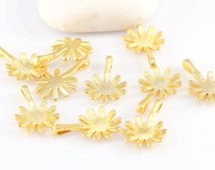 Gold Plated Daisy Charms 12 mm 10 pieces // by ShiShisBoutique, $5.00