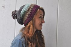 Wool Textured Slouchy Hat with PomPom Color by theComfyTimes