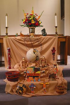 It's different, but a neat altar for a world worship service