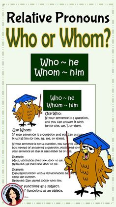 Who, Whom, Relative Pronoun Center Activity for small groups or independent work during guided reading. Students fill in the blank with the correct relative pronoun, either who or whom. Record the answer on a recording sheet, then write 4 sentences and define the rules of using who and whom. The task page and the task cards use the same sentences.