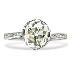 Kensington is a spectacular Edwardian era vintage engagement ring featuring a 2.06 Old Mine Cushion cut diamond in a regal pour prong setting. Wow! TrumpetandHorn.com   $14,500