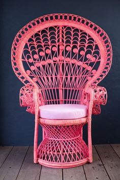 Beautiful pink peacock chair designed by two talented sisters they have amazing pieces Pink Peacock, Peacock Chair, Wicker Furniture, Painted Furniture, Hot Pink Furniture, Painted Wicker, Home Interior, Interior Design, Do It Yourself Design