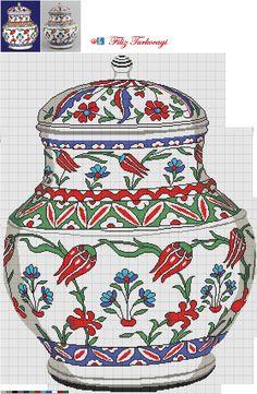 Designed by Filiz Türkocağı. Xmas Cross Stitch, Cross Stitch Pillow, Cross Stitch Kitchen, Cross Stitch Flowers, Cross Stitching, Cross Stitch Embroidery, Cross Stitch Designs, Cross Stitch Patterns, Beading Patterns