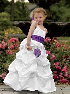 Make Your Own Flower Girls Dresses For Wedding Sleeveless Flowers Cascading Ruffle Floor Length Accept Wedding Party Dresses