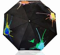 color changing umbrella, rain water splats various colors as it hits