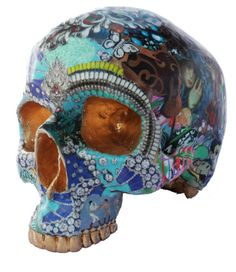 Collage Skull Sculpture by RAra Collective.