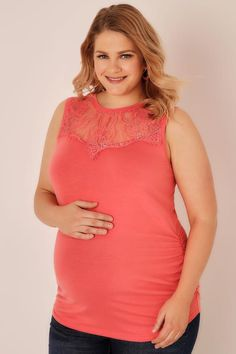f8bff1f4828c BUMP IT UP MATERNITY Coral Sleeveless Top With Lace Yoke