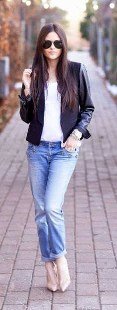 Black Leather Arms Blazer , Embroidered Pockets Jeans