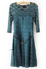 Green Half Sleeve Blet Lace Skater Dress #Sheinside