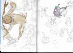 random illustrations during snow & rose workshop, pencil - bistre - pastel