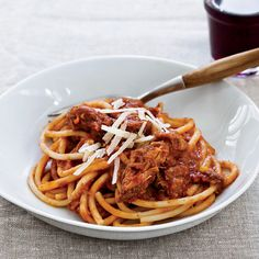 "Slow Cooker Sunday Sauce on Spaghetti | Have an Italian palate but don't exactly have the time on Sunday like an Italian grandma? ""Cheat"" with this recipe and your slow cooker."