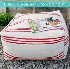 How To: Make a DIY Pouf Ottoman from an Inexpensive Floor Mat. El cheapo poufs and can make in small sizes for the kids. floor pillow How To: Make a DIY Pouf Ottoman from an Inexpensive Floor Mat Floor Pouf, Floor Mats, Floor Pillows, Diy Pillows, Do It Yourself Inspiration, Diy Inspiration, Diy Projects To Try, Sewing Projects, Upcycling