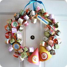 birthday parti, craft, parti wreath, parti blower, parties, birthdays, birthday wreath, parti idea, wreaths