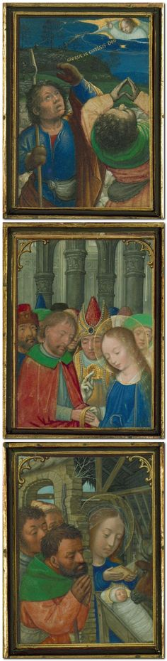 The Stein Quadriptych was likely created in Bruges, and it has been attributed to Simon Bening and associates, ca. 1525-30. This collection of sixty-four miniatures is mounted in four panels, each in sets of sixteen miniatures per panel. The ensemble of miniatures was first cited in scholarly literature as the Stein Quadriptych because the earliest known owner of the collection was Charles Stein until 1886.