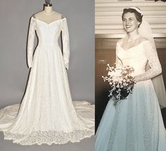 1950s Wedding Dress 50s Lace Wedding Gown with by daisyandstella