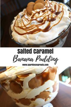 This Salted Caramel Banana Pudding is a perfect treat for you next get together.  The caramel takes it to the next level, making this banana pudding truly something super special. . #banana #pudding #trifle #dessert #recipe #sparklesnsprouts