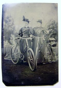 Antique Tintype Two Women Wearing Sunday Best Posing with Bicycles No Reserve | eBay