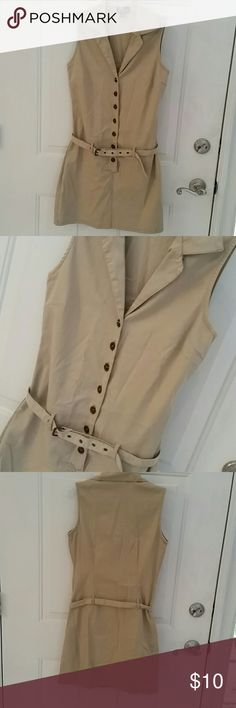 "G DRESSES TAN DRESS Size 7 tan dress features button down front with a thin style belt that sits to hip area. Very cute, fitted style dress. Chest 33"", waist 31"", hips 35"", length 34.5"". Cotton and spandex. Good condition. G DRESSES Dresses Mini"