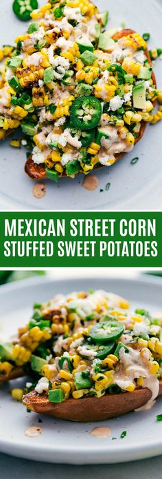 This Mexican Street Corn inspired loaded sweet potato is an easy oven-baked sweet potato with a delicious mix of corn green onions cilantro jalapeño lime Mexican cheese and a creamy sauce. Veggie Recipes, Healthy Dinner Recipes, Mexican Food Recipes, Cooking Recipes, Lunch Recipes, Vegetarian Sweet Potato Recipes, Cooking Games, Clean Eating Snacks, Healthy Eating