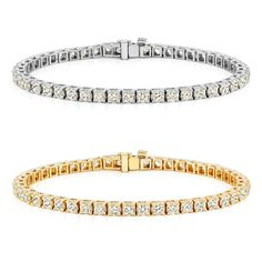 Auriya 14k Gold 1 1/2ct to 12ct TDW Diamond Tennis Bracelet (H-I, SI1-SI2) (7CT - Yellow Gold), Women's, Size: 7 Inch
