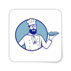 Hipster Baker Holding Chocolate Block Retro Square Sticker - retro gifts style cyo diy special idea