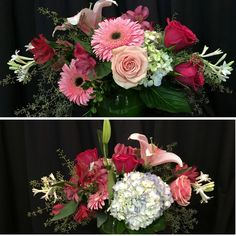 Something beautiful! Gorgeous stargazers with hydrangea, playful gerbera daisies, pink roses, and the best smelling, locally grown tuberoses ever! somethingbeautiful #flowers #wmbg #williamsburgva #lovewmbg