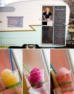 Fresher than Fresh Snowcones owner Lindsay, serves her all natural snowcones  from an beautiful 1957 Shasta.