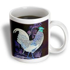 3dRose - Cassie Peters Chickens - The Chicken in the Purple Forest Digital Art by Angelandspot - Mugs