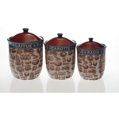 Certified International French Market Canisters (Set of 3) - This set of three canisters features three different sizes of 50 ounces, 66 ounces and 96 ounces. These are great for any kind of kitchen storage.   http://www.overstock.com/Home-Garden/Certified-International-French-Market-Canisters-Set-of-3/7524013/product.html?CID=214117 $69.99