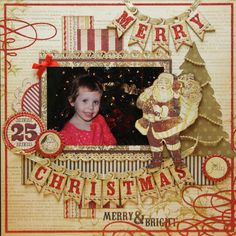 Merry Christmas bunting scrapbook layout with vintage Santa