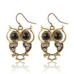 Vintage Style Black Gem Eyes Rhinestone Owl Earrings