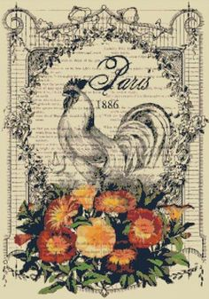 etsy french country | French Country Rooster and Flowers Ephemera Cross-Stitch Pattern