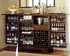 How to Stock a Bar. Have you ever wanted to have your own bar? Creating a bar in your home is fun and easy! To do this, you will need to stock the bar with the necessary ingredients, tools, and find the perfect space for it. Find a good. Home Bar Cabinet, Liquor Cabinet, Cabinet Storage, Alcohol Cabinet, Armoire Bar, Wine Storage, Cabinet Ideas, Bar Shelves, Homemade Home Decor
