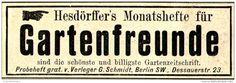 Original-Werbung/ Anzeige 1897 - HESDÖRFFER'S MONATSHEFTE FÜR GARTENFREUNDE / VERLAG SCHMIDT BERLIN  - ca. 80 x 30 mm