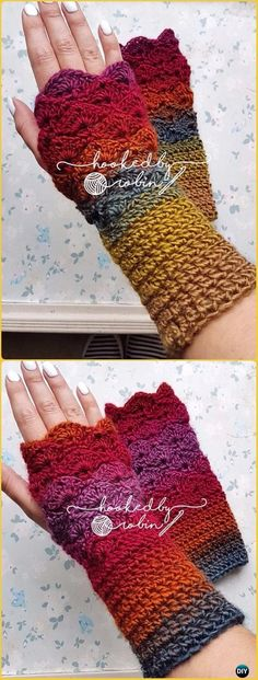 Crochet Fantail Stitch Fingerless Gloves Free Pattern - Crochet Arm Warmer Free Patterns